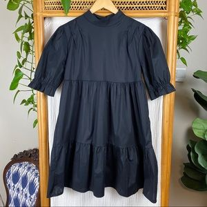 BOOHOO BLACK RUFFLE COTTON SMOCK DRESS